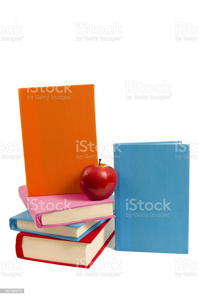 Set of Covered Books With Apple royalty-free stock photo