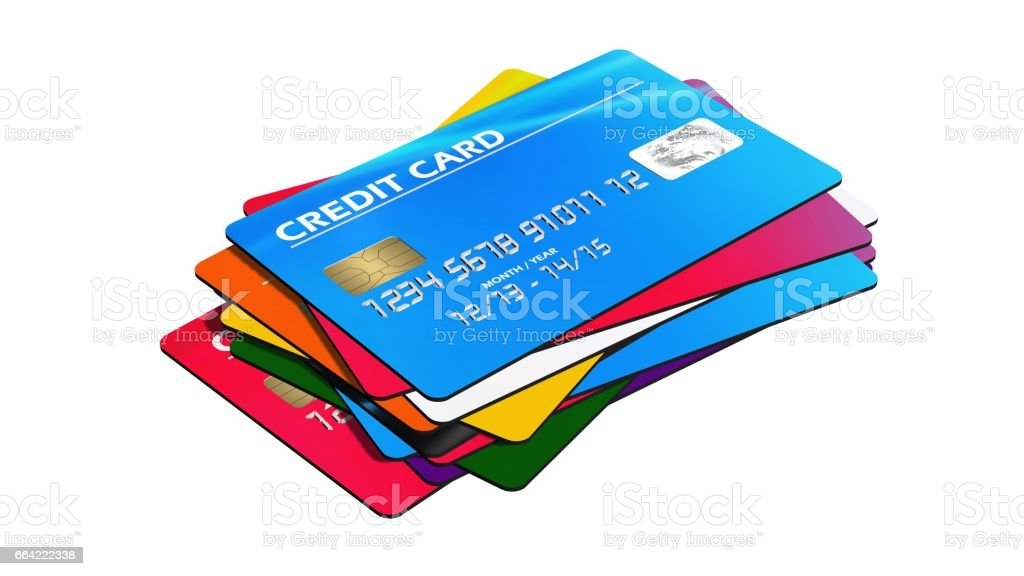 Set of  Credit Cards isolated on white background – Foto