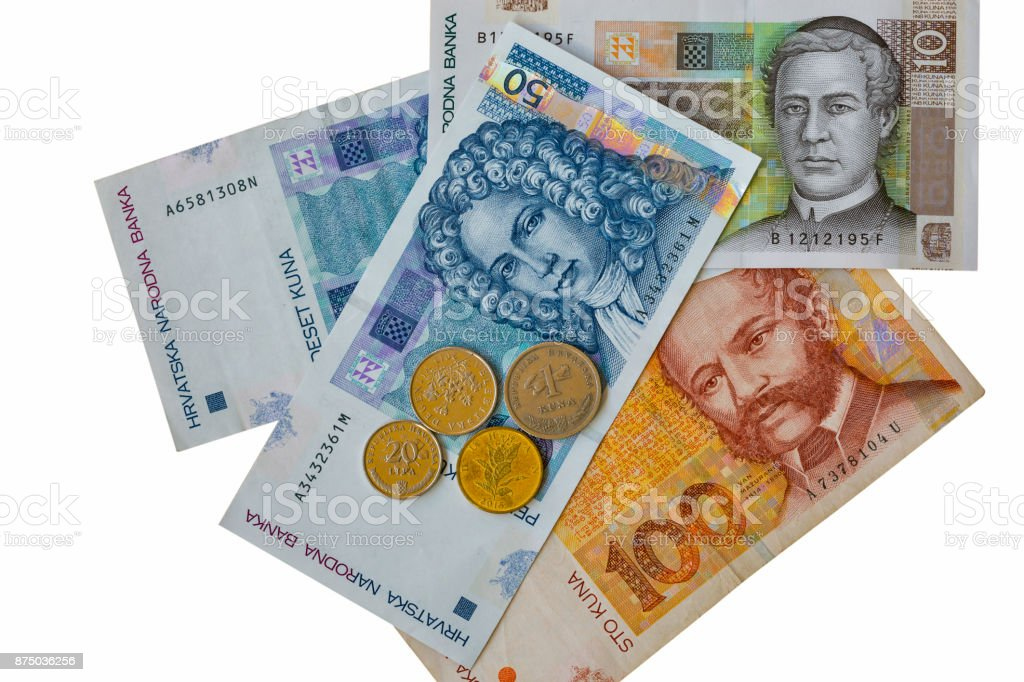 Set Of Croatian Currency Banknotes And Coins Macro Isolated