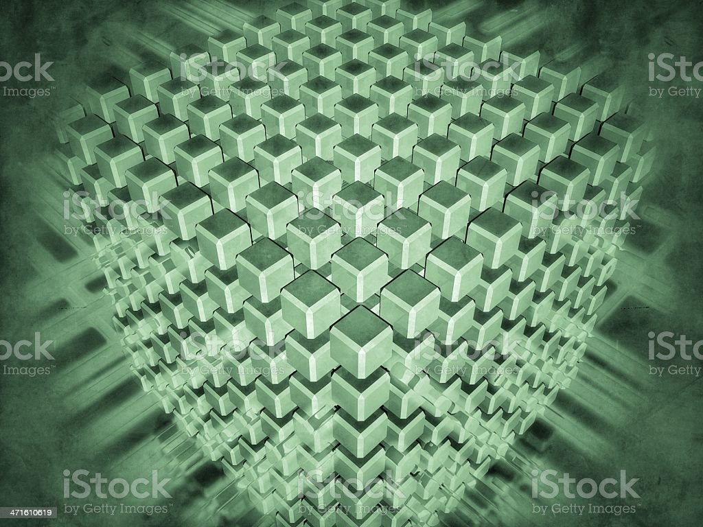 set of cubes surrounded with luminous flows royalty-free stock photo