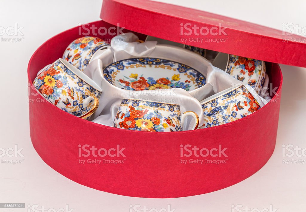 set of cups and saucers in oriental style stock photo