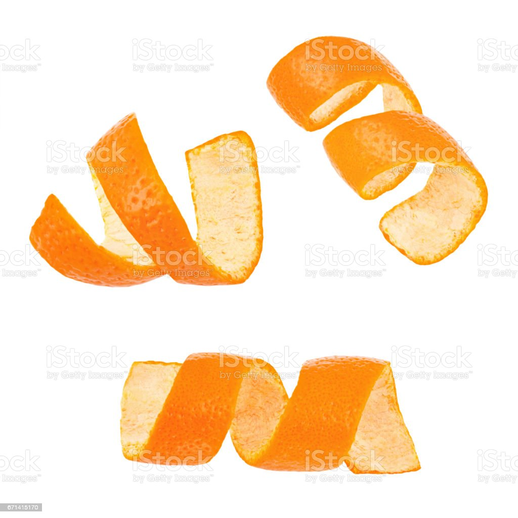 Set of curl mandarin peel isolated on white background stock photo