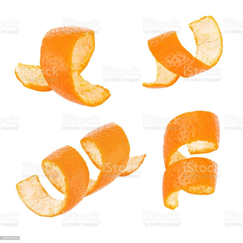 Set of curl orange peel isolated on white background stock photo