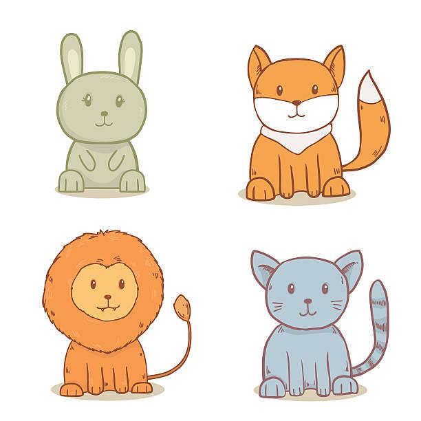 satz von niedlichen tiere - katze zeichnen stock-fotos und bilder