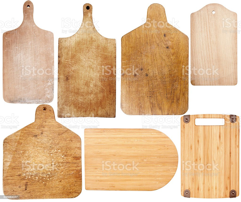 Set of cutting boards stock photo