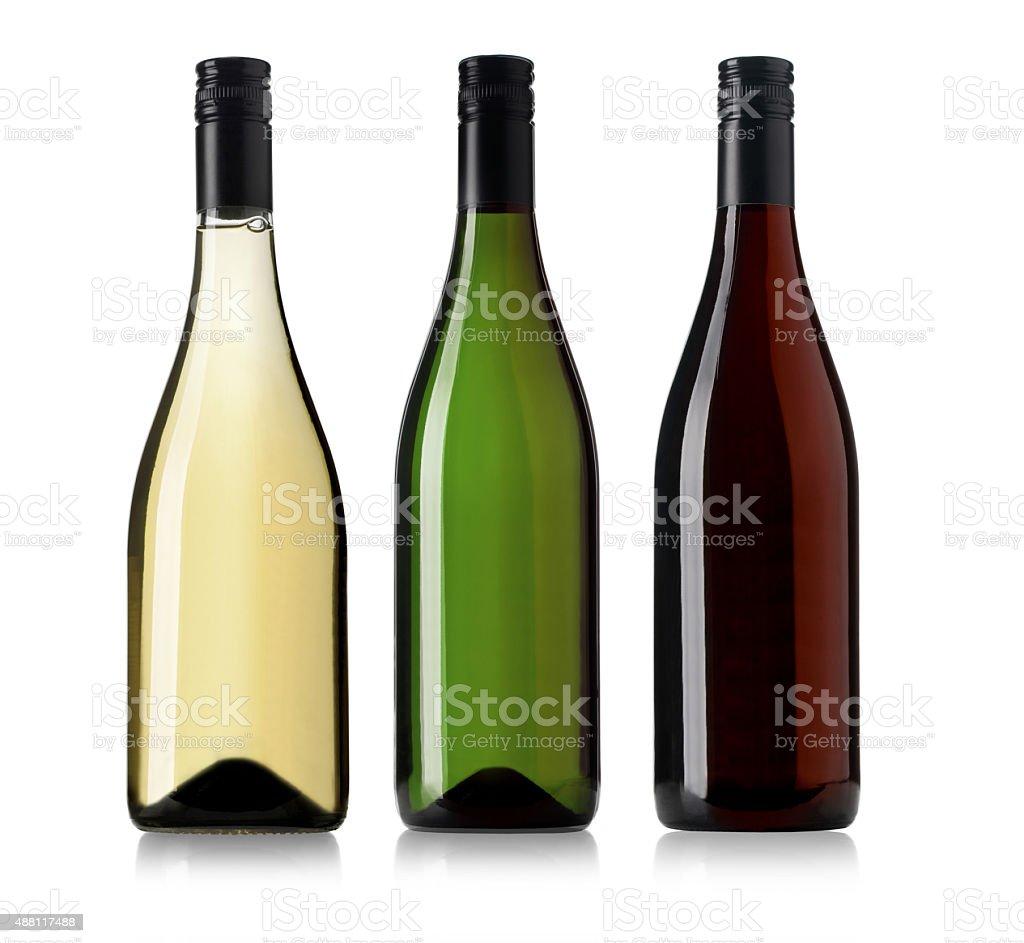 Set of d wine bottles. stock photo