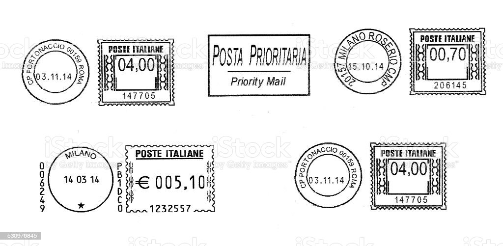 set of dark italian postmarks stock photo