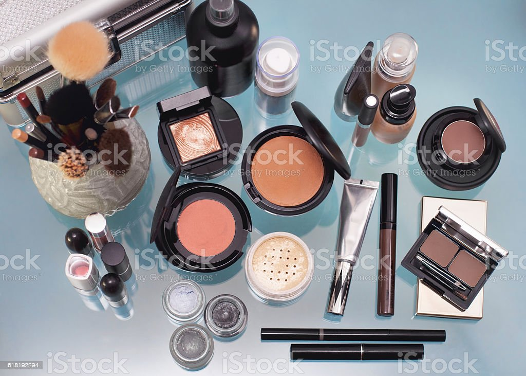 Set of decorative cosmetic. stock photo