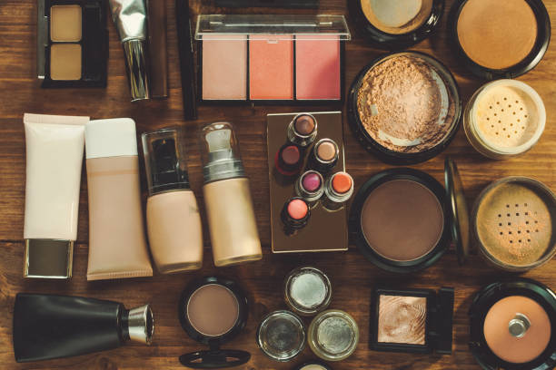 set of decorative cosmetic. - make up stock photos and pictures
