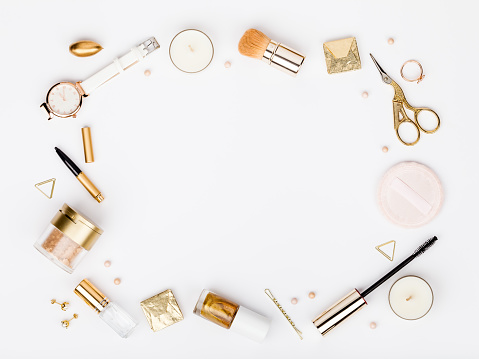 set of decorative cosmetics, makeup tools and accessory on white background with copy space for text. beauty, fashion, party and shopping concept. flat lay frame composition, top view