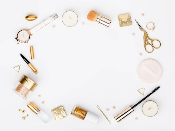 set of decorative cosmetics, makeup tools and accessory on white background with copy space for text. beauty, fashion, party and shopping concept. flat lay frame composition, top view - trucco teatrale foto e immagini stock
