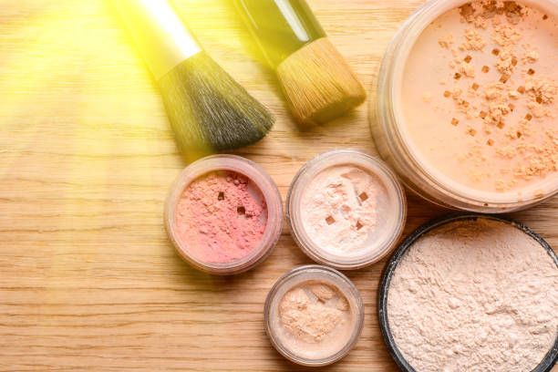 Set of decorative cosmetics with sunlight stock photo