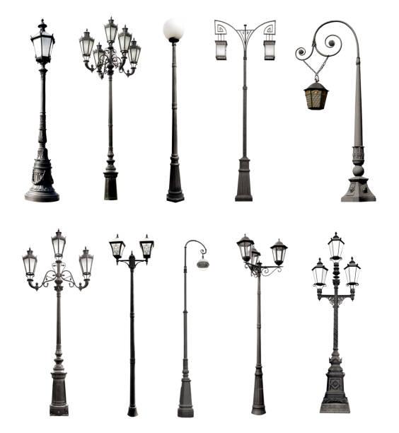 ensemble de lampadaires décoratifs - éclairage public photos et images de collection
