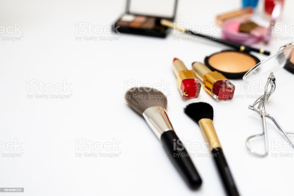 Set of decorative  with cosmetics beauty products on white background royalty-free stock photo