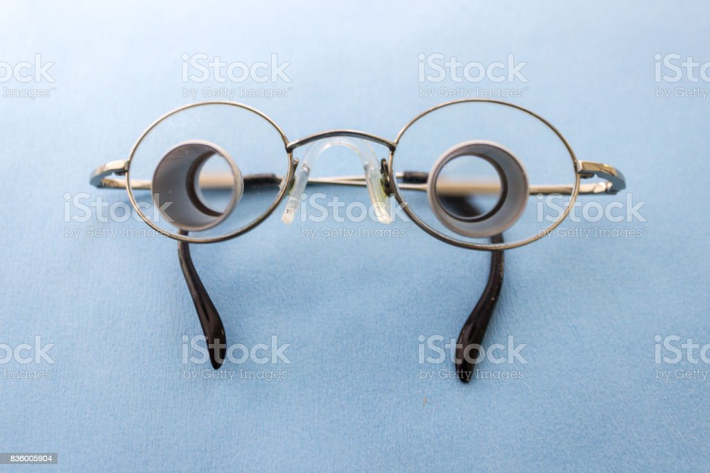 Set of dentist tools on blue background stock photo