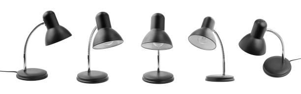reihe von desktop-elektrische lampen - bürolampe stock-fotos und bilder