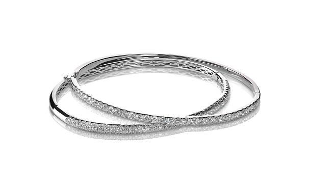 набор браслетов-бэнгл алмаз канал набор серебра с покрытием из белого золота - браслет стоковые фото и изображения