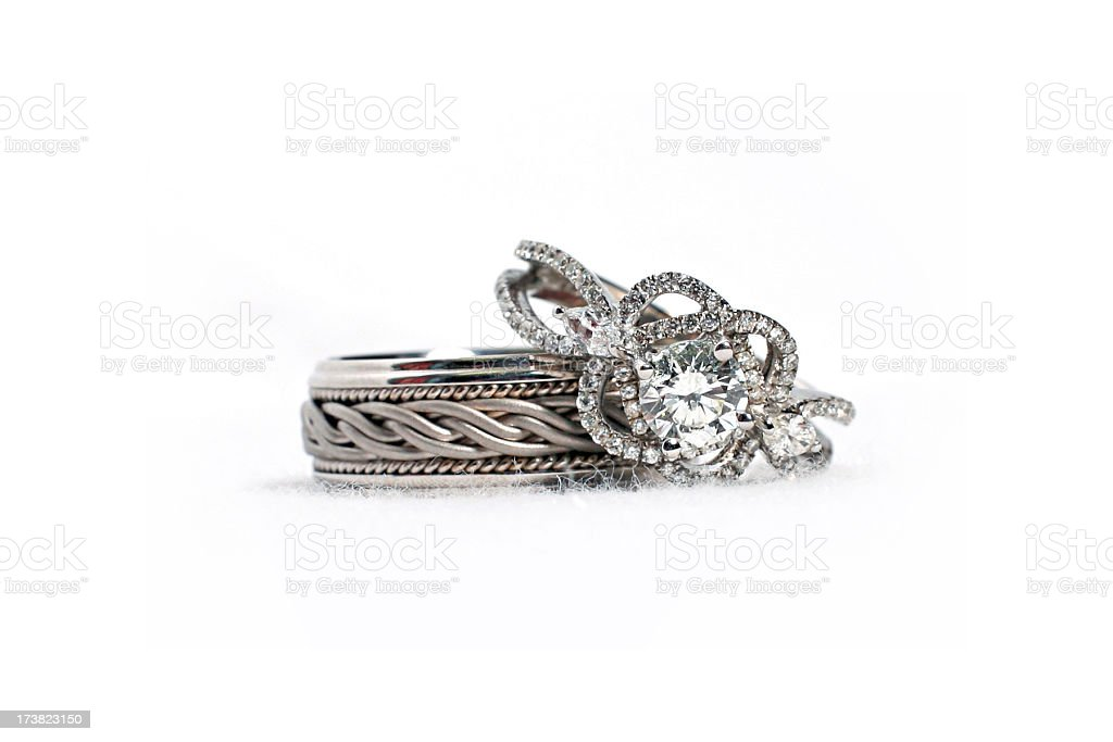 Set of Diamond Wedding Rings royalty-free stock photo