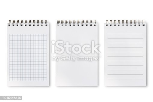 Notebook or notepad set, blank, lines and square isolated on white background, include clipping path. Set of difference types of notepad