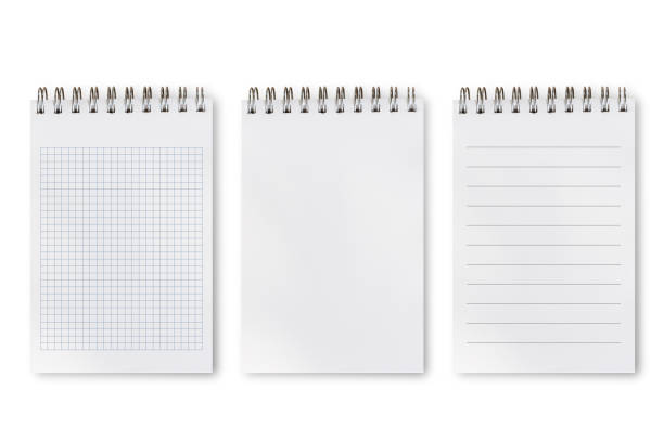 Set of difference types of notepad Notebook or notepad set, blank, lines and square isolated on white background, include clipping path. Set of difference types of notepad note pad stock pictures, royalty-free photos & images