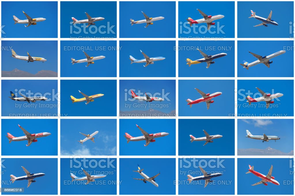 Set of different airplanes stock photo