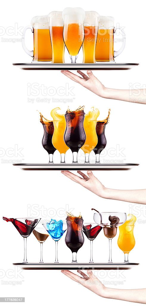 Set of different alcoholic drinks and cocktails royalty-free stock photo
