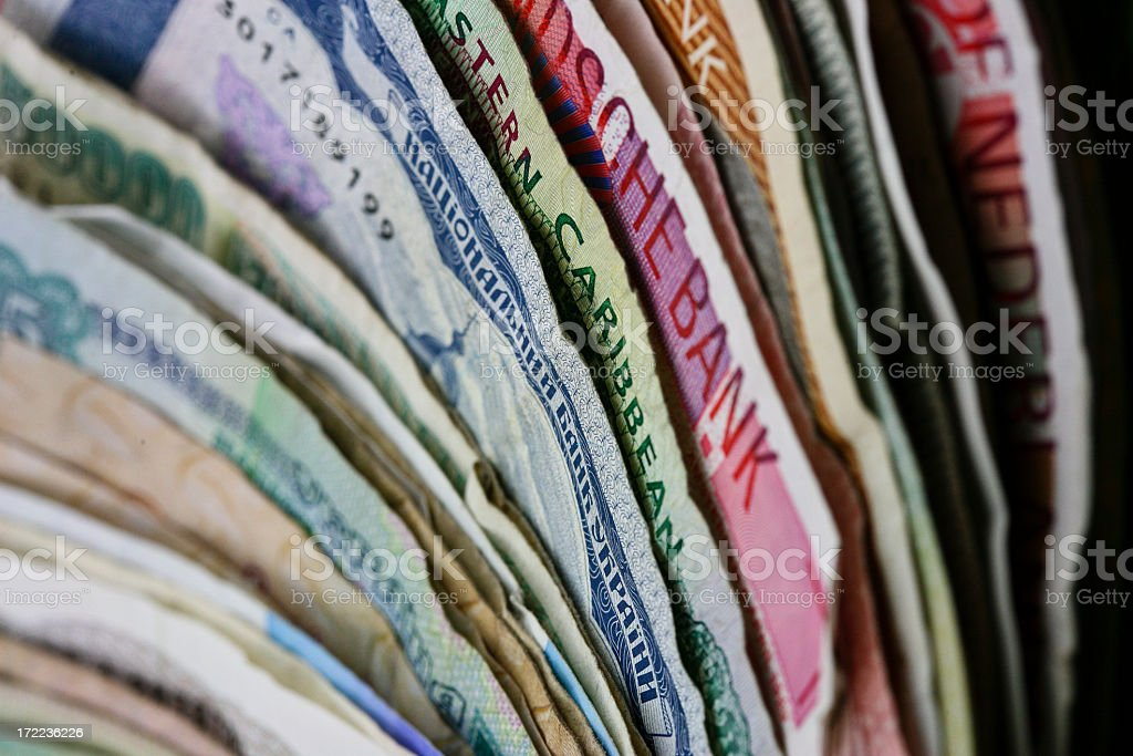 Set of different banknotes standing royalty-free stock photo