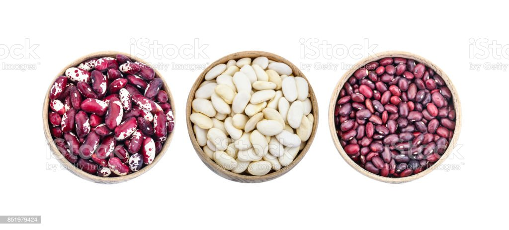 Set of different beans pods on a white background stock photo