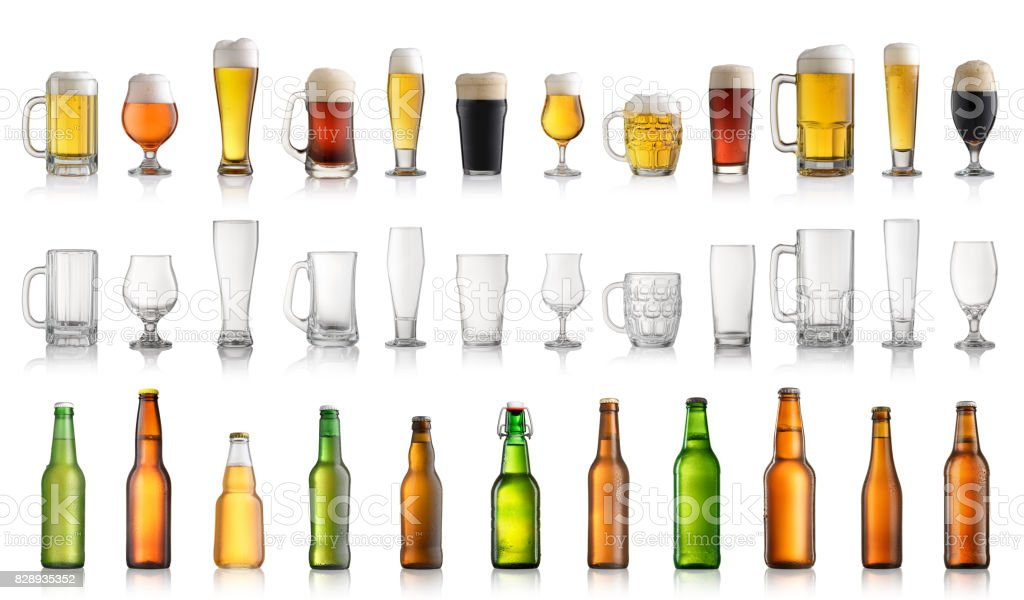 Set of different beer bottles and glasses isolated on white background stock photo