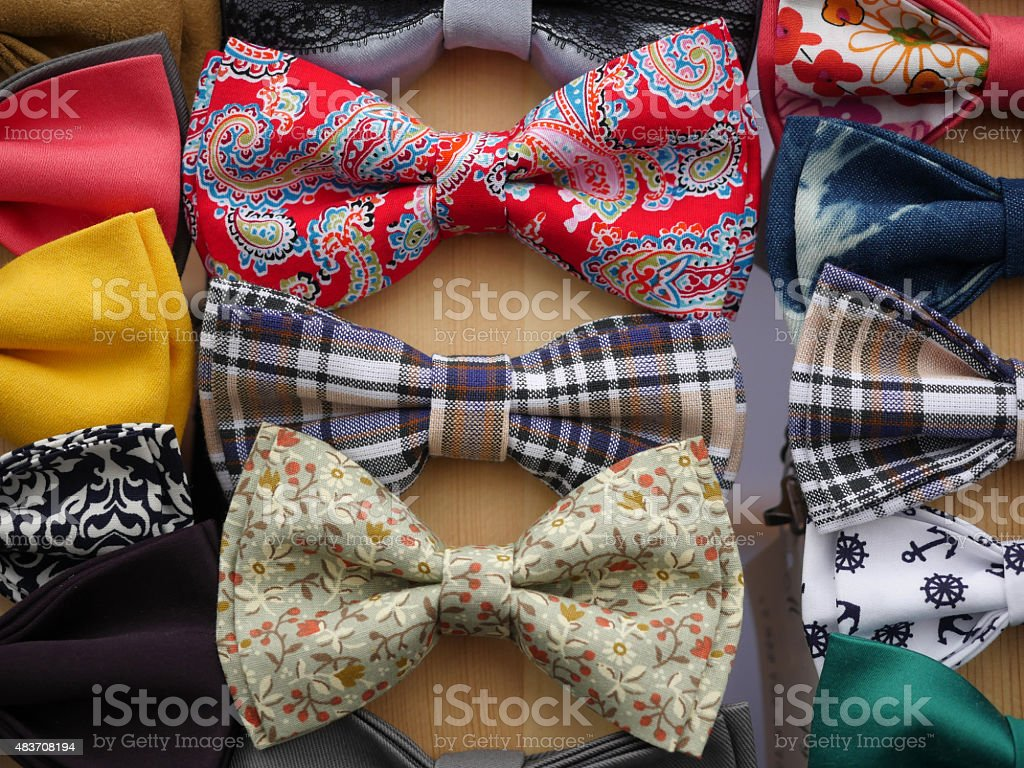 Set of different bow ties stock photo