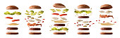 Set of different burgers with ingredients separated by layers on white isolated background. Front view. Horizontal composition.