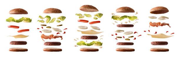 一套不同的漢堡與成分由層數白色隔絕 - 材料 個照片及圖片檔