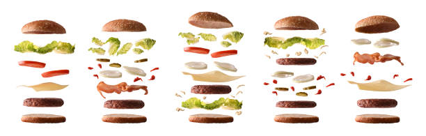 set of different burgers with ingredients by layers white isolated - burgers stock pictures, royalty-free photos & images