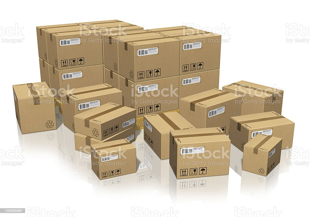 Set of different cardboard boxes royalty-free stock photo