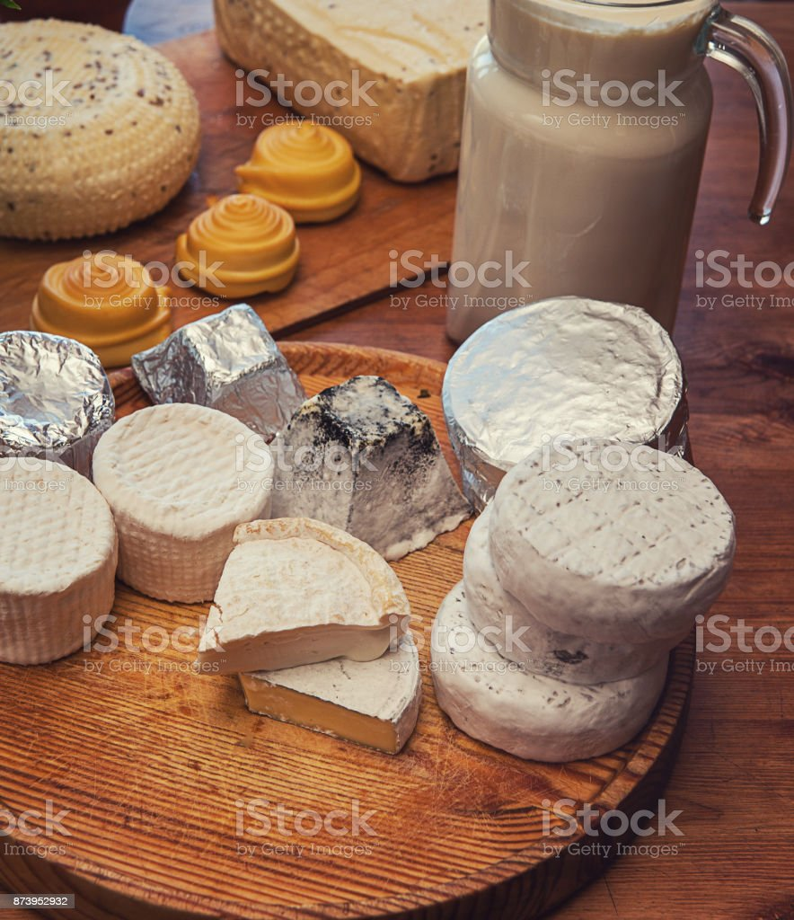 Set of different cheese stock photo