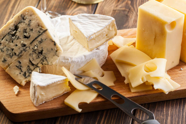 Set of different cheeses stock photo