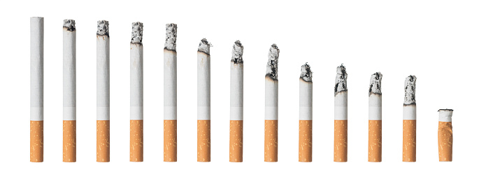 Many different stages of cigarette isolated on white background