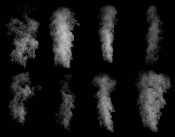 set of different clouds of smoke - smoke physical structure stock pictures, royalty-free photos & images