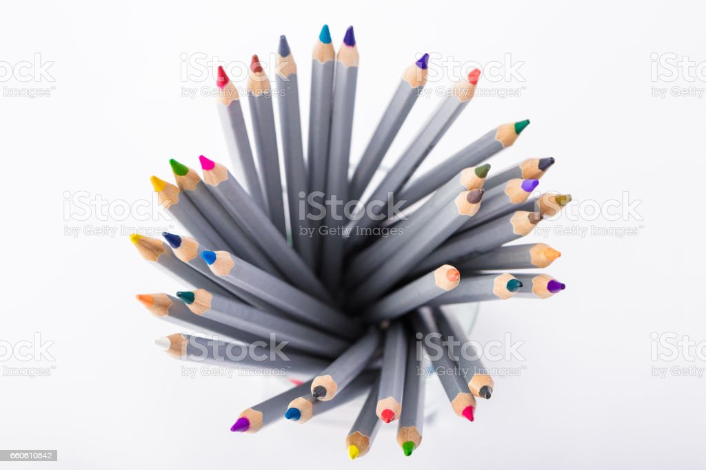 set of different colored pencils on white background royalty-free stock photo