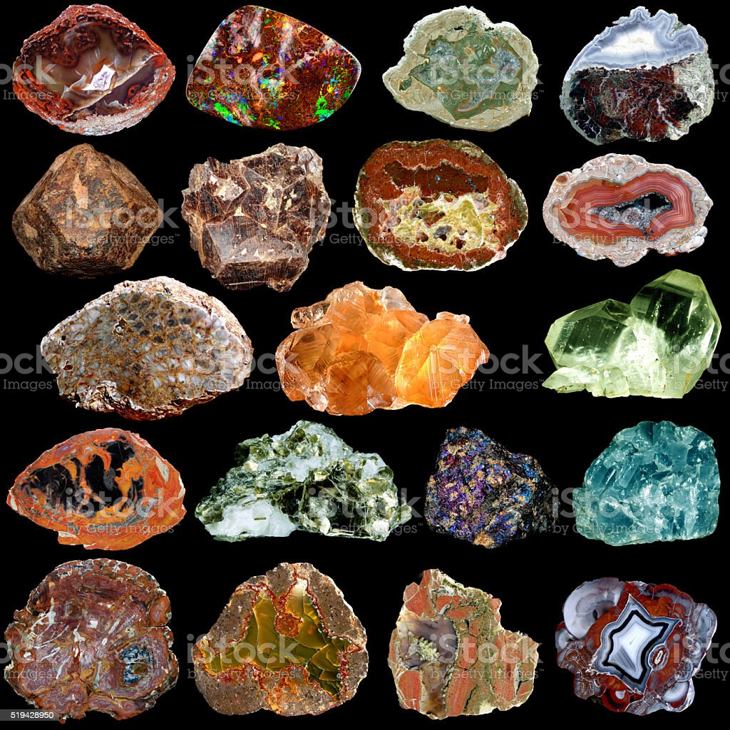 Set of different colorful minerals isolated on a black backgroun stock photo