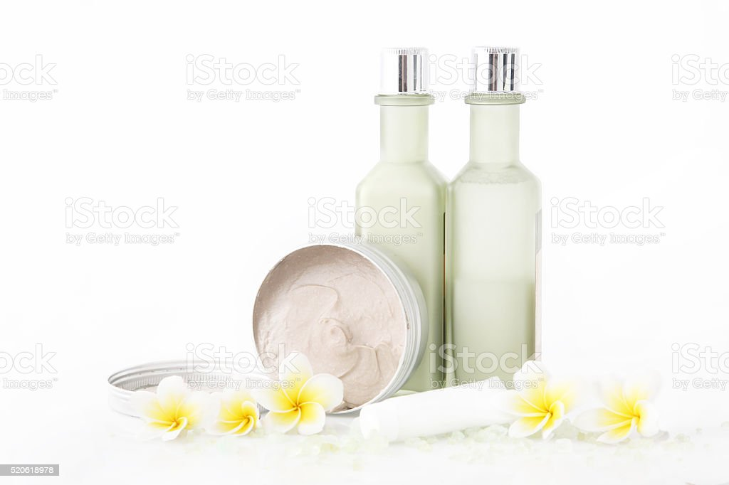 Set of different cosmetic products stock photo