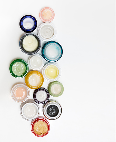 Set of different cosmetics cream. view from above