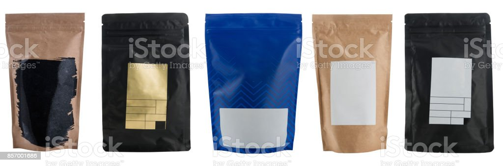 Set of different craft coffee bags isolated on white stock photo