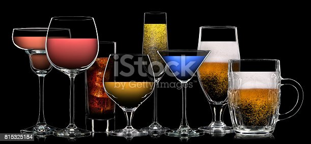 istock Set of different drinks in various glasses 815325184