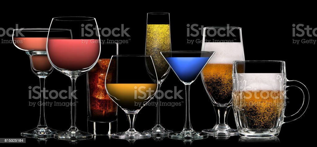 Set of different drinks in various glasses stock photo