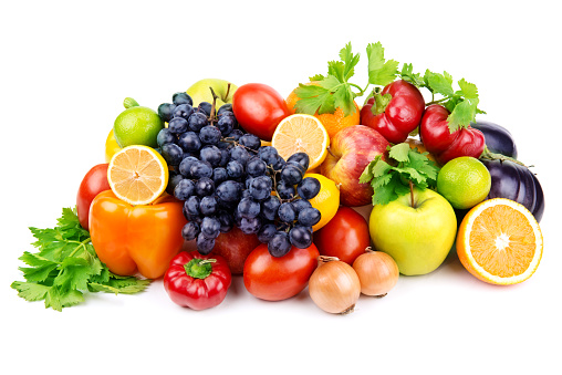 Set Of Different Fruits And Vegetables Stock Photo - Download Image Now