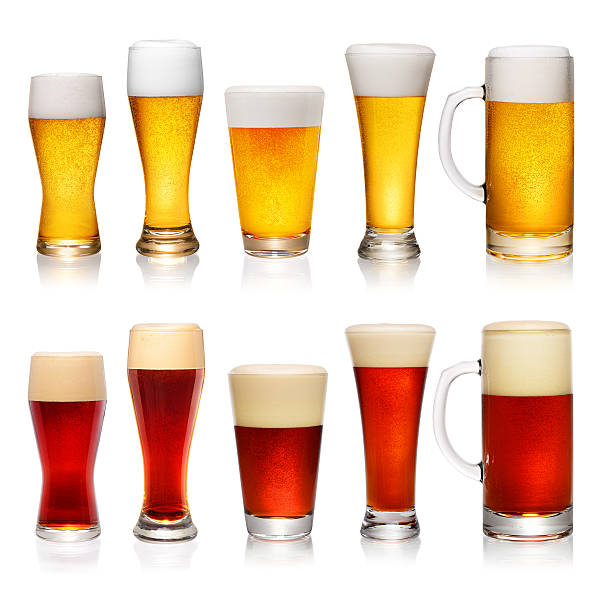 Set of different glasses of beer stock photo