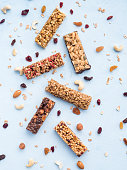 istock Set of different granola bars on blue background 1094252264