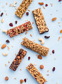 istock Set of different granola bars on blue background 1133275269