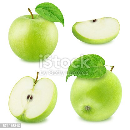istock Set of Different Green Apples Isolated on White Background 671418340